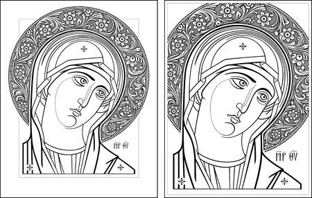 saint mary: Virgin Oplechnaya outline11-12 vector graphics  Vector illustration, digital art  Illustration