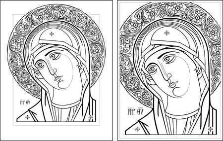 virgin: Virgin Oplechnaya outline3-4 vector graphics  Vector illustration, digital art