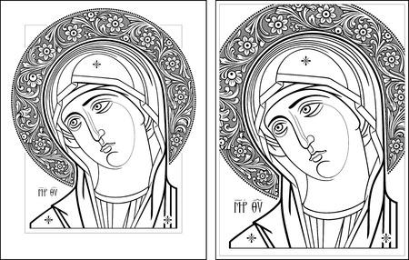 virgin: Virgin Oplechnaya outline6-6 vector graphics  Vector illustration, digital art  Illustration