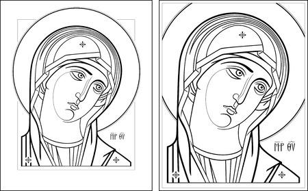 virgin: Virgin Oplechnaya outline7-8 vector graphics  Vector illustration, digital art