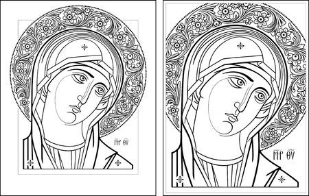 saint mary: Virgin Oplechnaya outline9-10 vector graphics  Vector illustration, digital art