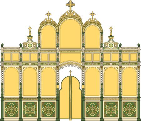 Iconostasis1, architectural object, orthodox. Vector illustration, color