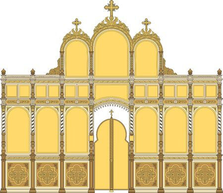 Iconostasis2, architectural object, orthodox. Vector illustration, color
