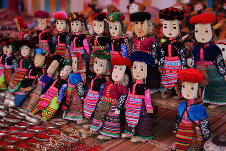 ha: hill tribe dolls in Bac Ha market, Vietnam