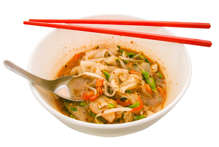 sour grass: Sukhothai hot and sour soup  Tomyum  noodle ready to eat Stock Photo