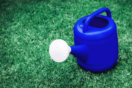 blue watering plastic pot on a green grass field in space in left hand  photo