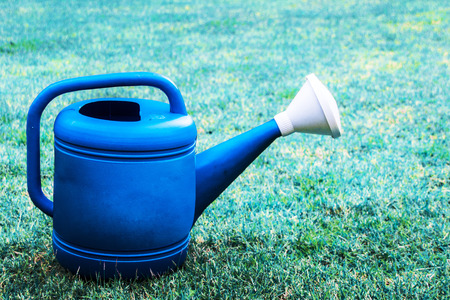 blue plastic watering can on the green grass photo
