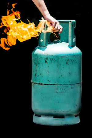 liquefied: close the switch on gas balloon on fire burning in safety no dangerous
