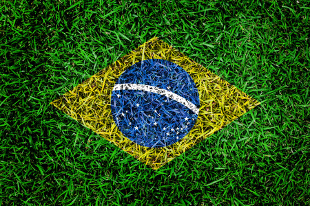 Brazil flag texture on green grass in the garden for background photo