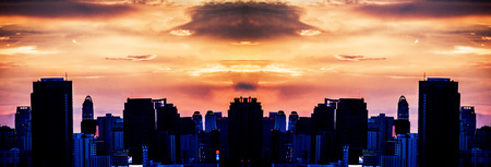 beauty sunset like explotion clound in sky panorama of town  photo