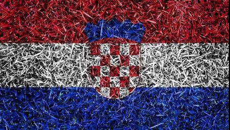 bandiera croazia: Bandiera Croazia colore erba texture di fondo Archivio Fotografico