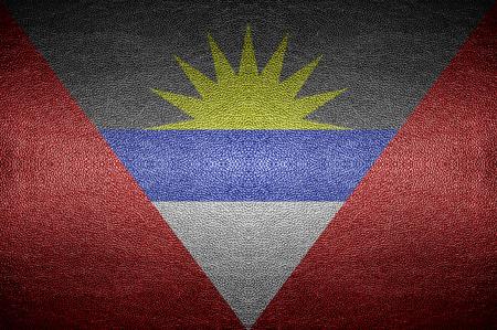 antigua flag: closeup Screen Antigua and Barbuda flag concept on PVC leather for background