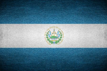 el salvador flag: closeup Screen El Salvador flag concept on PVC leather for background