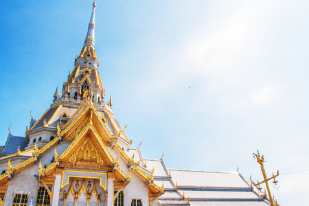 sou: white temple at Wat Sothorn temple, Cha cheung sou Thailand Stock Photo
