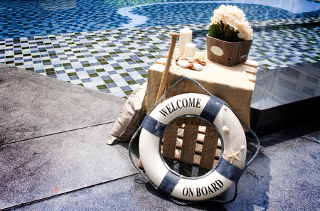 swimming candles: decoration swimming pool in marine concept outdoor