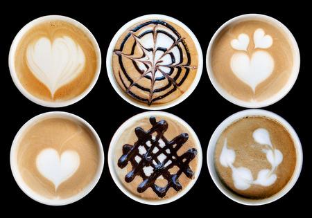 latte art design on ceramic mug isolate photo