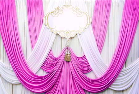 white and pink curtain backdrop background for wedding