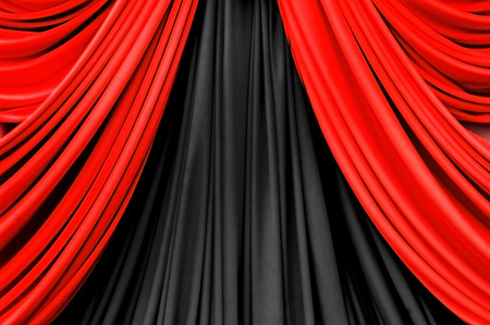 red and black curtain on stage for luxuary background photo