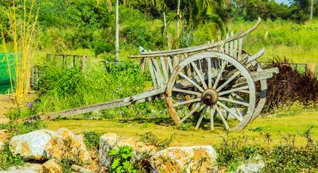 carreta madera: Carro de madera Tailandia rural en la agricultura vida Foto de archivo