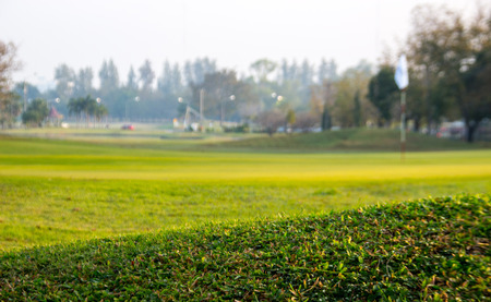 clouding: green filed for playing golf in clouding day