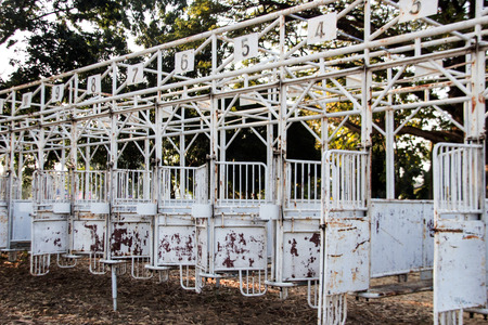 schooling: old schooling gate on equestrian training track