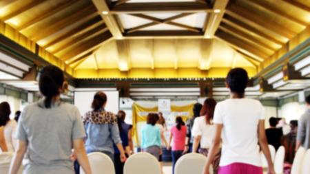 blurred human stand up  workshop in seminar for background Reklamní fotografie