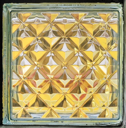 glass block: close up surface gold glass block in square style