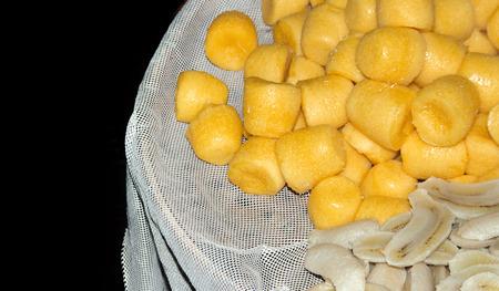 traditonal: close up palm cake dessert and banana boild in traditonal market Thailand
