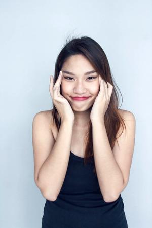 eye hole: Thai lady use hand hole end of eye