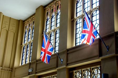 typically british: England flag deco inside public community mall in Bangkok,Thailand