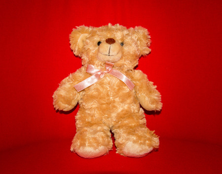 brown bear doll with bow on red background Banco de Imagens