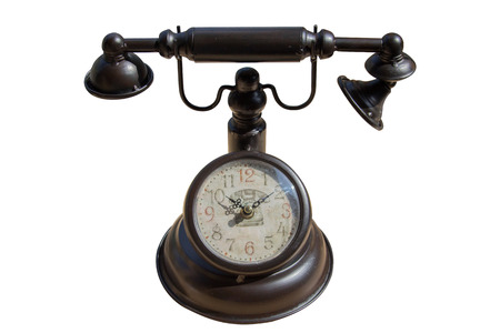 telefono antico: analog clock in antique telephone for decoration isolate Archivio Fotografico