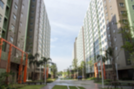 college dorm: blur dormitory building perspective background Stock Photo