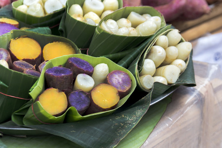 yacon: taro and yam in banana leave for eat natural style