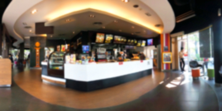 counter service: blur shot of food counter service bar and people Stock Photo