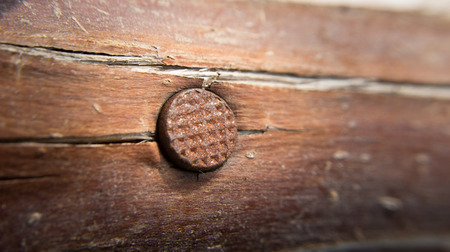 rusty nail: old rusty nail on wood Stock Photo