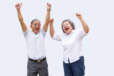 couple asian grandmother and grandmather smile and show happy life