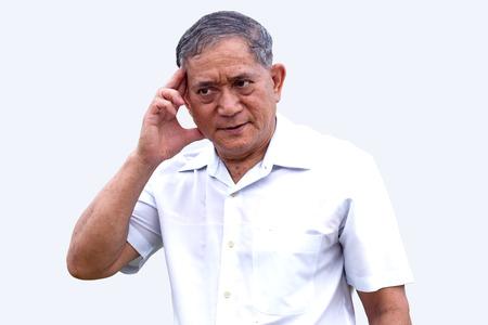 potrait: potrait asian old man headache stroke action on isolate