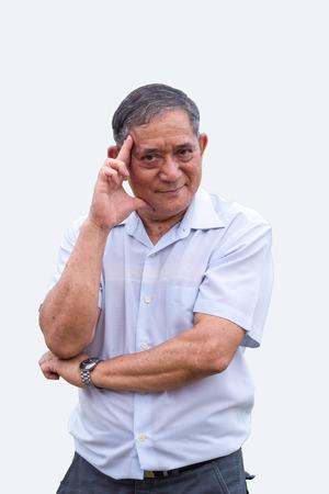 potrait: potrait asian old man thinking action on green screen Stock Photo