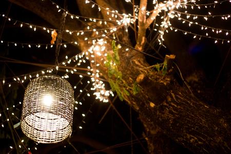 mand lamp tuindecoratie op boom 's nachts