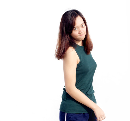 turn back: sexy thai asian lady show long hair and smile turn back action on white