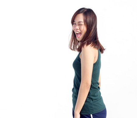 turn back: sexy thai asian lady show long hair turn back funny action on white Stock Photo