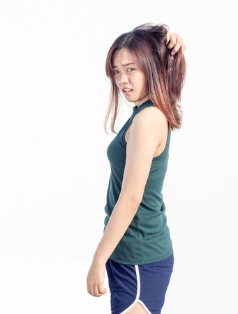 turn back: sexy thai asian lady show long hair turn back on white Stock Photo