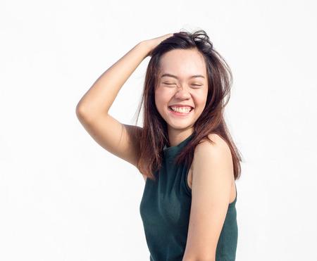 position d amour: cheveux longs sexy thai dame asiatique face show tourner le dos une action drôle sur blanc Banque d'images