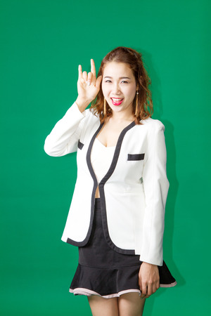 position d amour: asian thai show love finger symbol action on green screen