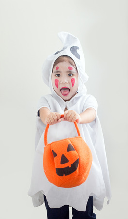 haloween: asian girl costume like gost in haloween party Stock Photo