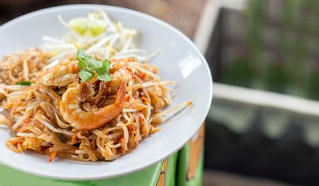 close up shrimp on padthai traditional thai food menu on street table