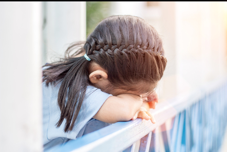outdoor shot: asian girl crying or play hide and seek outdoor shot Stock Photo