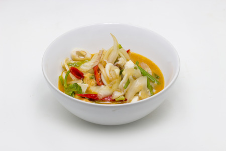 Fried Squid with Salted Egg thai food menu in white ceramic bolw