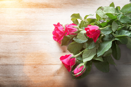 red and pink rose flower on wood table for gift to make relation in valentine day festival one day business
